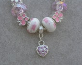 Pink and White Girl's European Style Charm Bracelet
