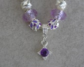 Purple and Pink European Style Charm Bracelet