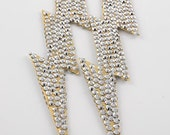 7INCH Lightening Bolt Crystal Earrings