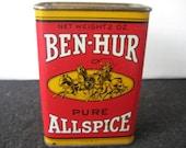 Vintage  Collectible Ben-Hur Allspice Spice Tin, Ben Hur,