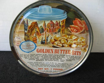 Vintage 1960's Mrs. Leland's Old Fashioned Golden Butter Bits Candy Tin