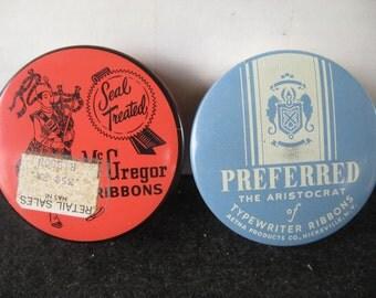 Vintage Old McGregor/Preferred Typewriter Ribbon Tins