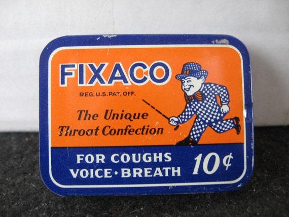 Vintage FIXACO sliding top tin THROAT confection