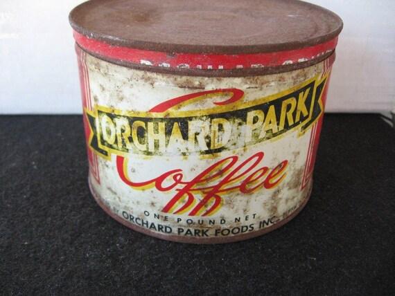 Vintage  Orchard Park Coffee Tin, Key Wind, Original Lid