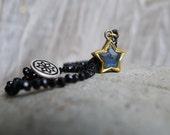 Labradorite Star Charm on Black Spinel Beads Bracelet