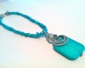 Turquoise Stone Chip Necklace with Turquoise Pendant & Silver Rings