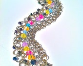 Chain Multi Strand 5 Layer Bracelet with Silver & Gold Chain and Multi Colored Beads - SALE
