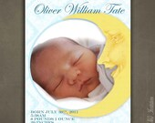No.19 Over the Moon Birth Announcement - Digital File
