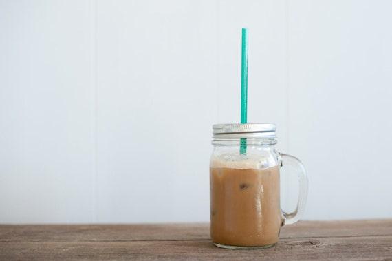 Mason Jar Mug - Eco Friendly Tumbler - ReUsable To-Go Cup and Straw with Handle