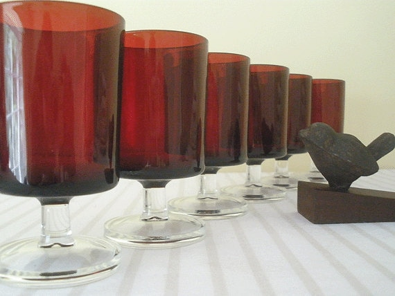 RETRO Mid Century FRENCH stemmed glasses - set of 6, ruby red