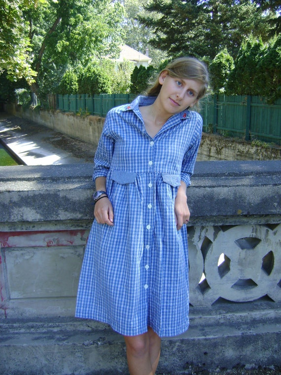 RESERVED for FORESTLASS: I'll Fly Away- Vintage Hanna Andersson 100% cotton, made in USA, Cool Blue Prairie Schoolgirl Dress