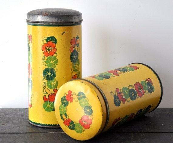 Dutch yellow biscuit tins by Verkade, Zaandam - set of 2