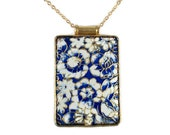 Blue, White and Gold Cloisonne Necklace