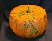 REDUCED Hand painted wooden pumpkin bowl with lid