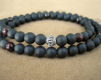 Mens Wrap Bracelet - Black Stone Bracelet for Men with Garnet and Silver, Matte Black Prayer Beads, Mens Gift