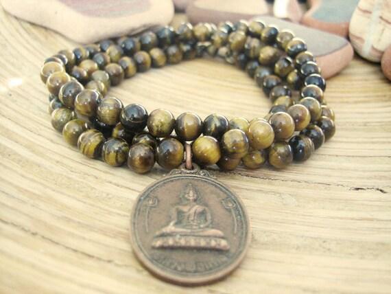 Buddha Necklace - Tiger Eye Mala Beads Lotus Yoga Necklace, Genuine Vintage Thai Buddha Amulet, Unisex Mens
