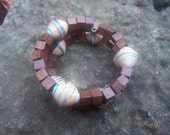 Memory wire bracelet with fair-trade beads and wooden cube beads SALE