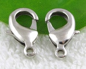 50pc Silver Plated Alloy Lobster Claw Clasps Findings 7x12mm B408-1