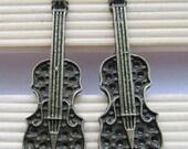 Guitar charms -10pcs Antique Bronze Music Instrument Charm Pendants 13x41mm C204-4