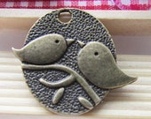 15pcs Antique Bronze Abstract Two Birds On Branch Charm Pendants 25x29mm C308-5