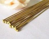Headpins -100pcs Raw Brass Head Pin Jewelry Findings 45mm 20 gauge W139