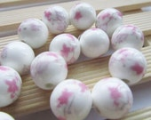Ceramic Beads -15pcs Chinese Hand Painted Pink Flower Ball Bead Earring Findings 14mm