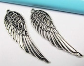 Wings - 6pcs Antique Silver Large Angels Wings Charm Pendants Thicken 16x53mm A406-6