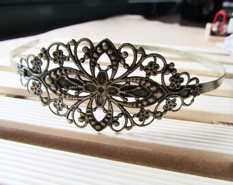 Headbands -1pc Antique Bronze Filigree Flower Hair Band Charms 35x80mm A108