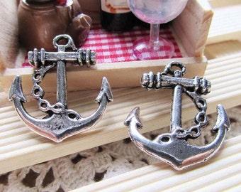 Anchor charms -15pcs Antique Silver Anchor Charm Pendants 25x27mm A502-3
