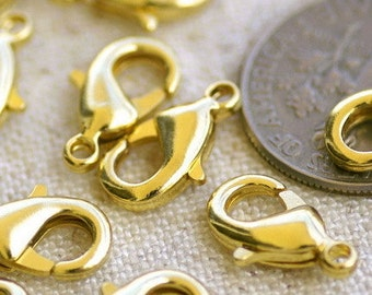 50pcs Gold Plated Lobster Claw Clasps Findings 7x12mm B408-4