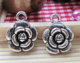 Silver Flower Charms -25pcs Antique Silver Rose flower pendants Jewelry findings 13mm A402-2