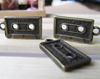 15pcs Antique Bronze Thick Cassette Tape Charm Pendants 12x23mm B203-2
