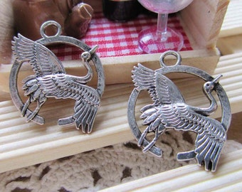 Cranes -15pcs Antique Silver Swooping Crane Bird Charm Pendants 21x28mm A205-3