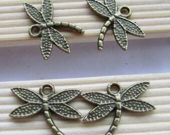 25pcs 14x18mm Antique Bronze Dragonfly Charm Pendant C105-3