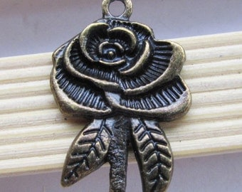 Flower Charms -5pcs antique bronze Rose Flower charm pendants 19x29mm B506-4