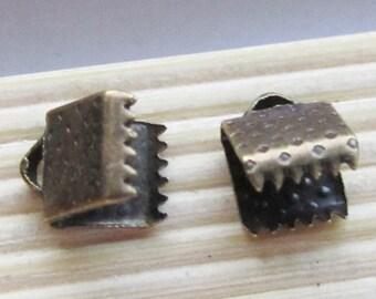 50pcs 6mm Antique Bronze Leather Fastener Clasp Crimp Bead B509-1