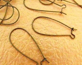 French Earwire -100pcs Antique Bronze Kidney Earwires Earring Findings 18x36mm W120