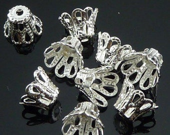 200pcs White K Plated Nickel Color Flower Bead Cap 8x12mm W134