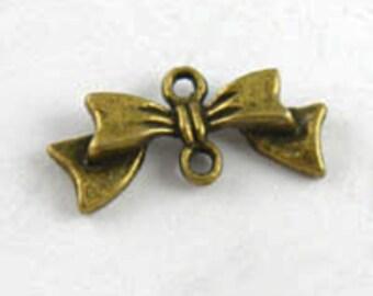 30pcs Antique Bronze Bow Knot Butterfly Charm Pendants Connectors 11x21mm D302-5