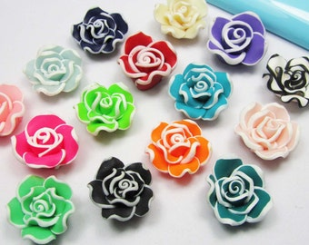 20pc Mixed Color 22mm Beautiful Clay Rose Flower Charm Jewelry Findings U107