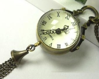 1pc 26mm Antique Bronze Pocket Watch Locket Necklace Pendants