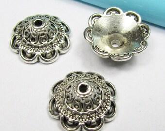 Silver Bead Caps -25pcs Antique Silver Flower End Cap Charms 14mm Tibetan A107-5