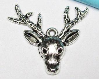 Elk Deer Charms -10pcs Antique Silver Rain Deer Charm Pendants 31x37mm A207-4