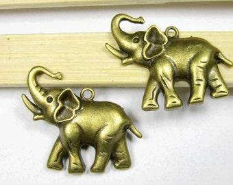 Elephant Charms -10pcs Antique Bronze Heavy Elephant Charm Pendants 30x35mm B508-1