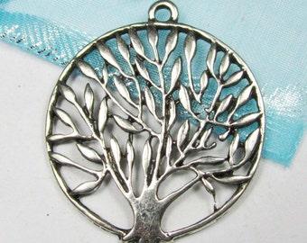 10pcs Antique Silver Filigree Round Tree Charm Pendants 37mm A405-3
