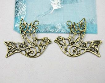 15pcs Antique Bronze Filigree Bird Charms Pendants 33x36mm B302-2