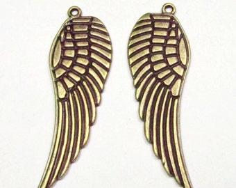 15pcs of Wings Antique Bronze Large Wing Charm Pendants 16x50mm B301-1