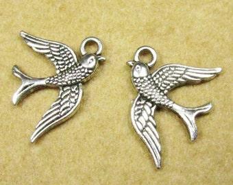 Swallow Bird Charm -25pcs Antique Silver Sparrow Charm Pendants 16x20mm A104-3