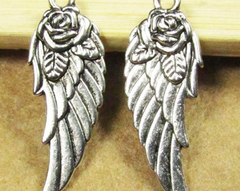 Wing Charms -20pcs Antique Silver Wings with Flower Charm Pendants 11x31mm A102-4