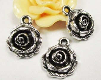 Jewelry Wholesale -20pcs antique silver rose flower charm pendants 14mm A402-4